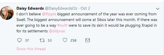 Rumour That SWIFT May Announce Partnership With Ripple (XRP) Thickens