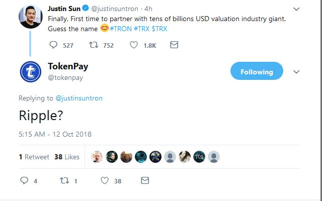 TokenPay (TPAY) Conjectures Tron (TRX) and Ripple (XRP) Partnership