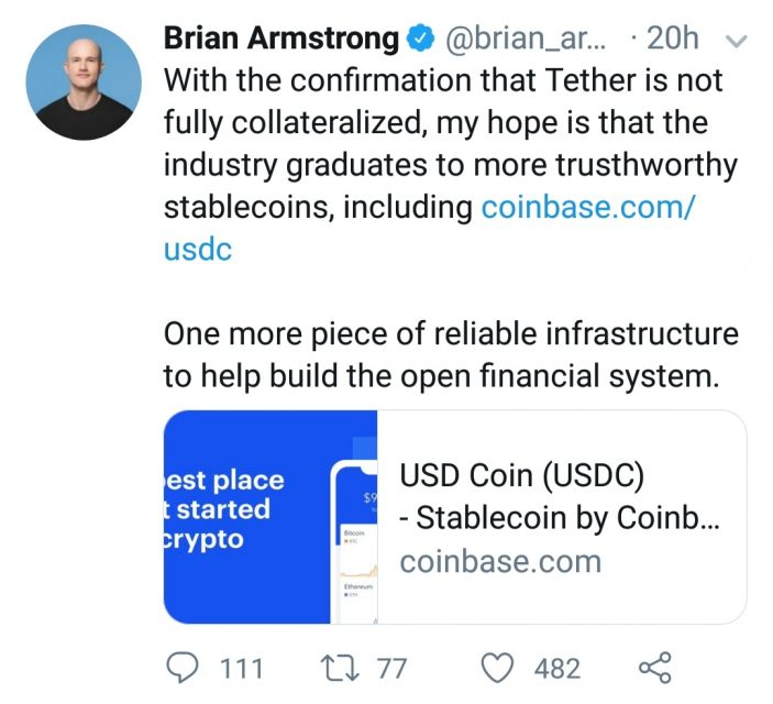 Invest in USDC stable coin instead of Tether Coinbase CEO says.