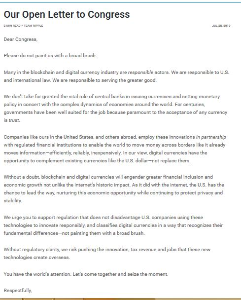 Ripple letter to US Congress
