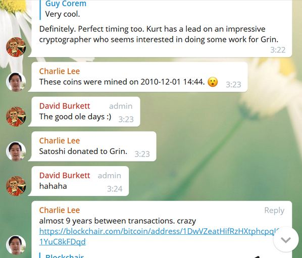 Charlie Lee Claims Satoshi Nakamoto Recently Donates 50 BTC to Grin