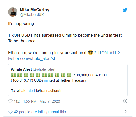 Mike Mccarthy TRON largest Tether