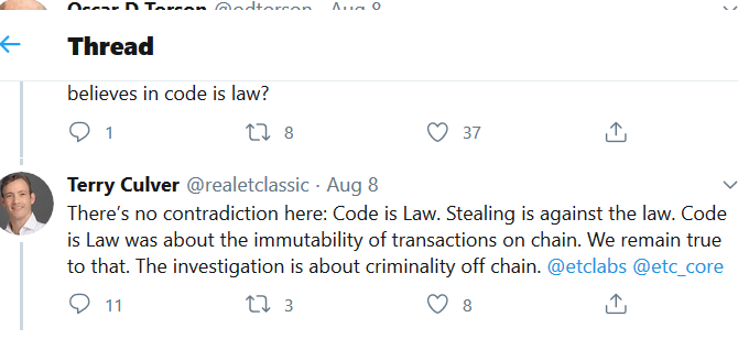 Hasu on Twitter Ethereum Classic Labs announced that it had retained the services of two law firm