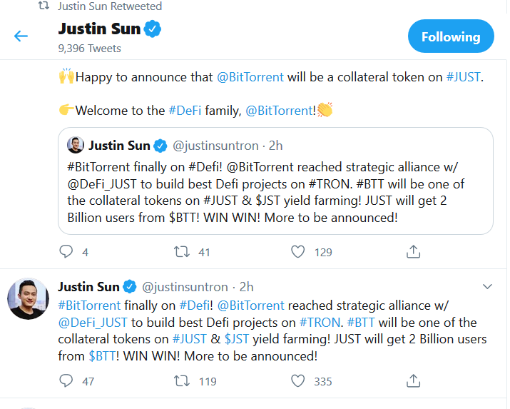 """BitTorrent has signed a strategic agreement with Just DeFi to build the """"best Decentralized Finance (DeFi)"""" on the TRON Blockchain."""