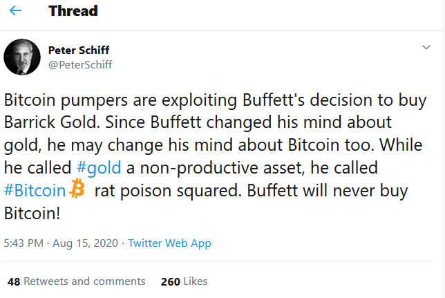 Peter Schiff on Twitter Bitcoin pumpers are exploiting Buffett's decision to buy Barrick Gold Sin[...]