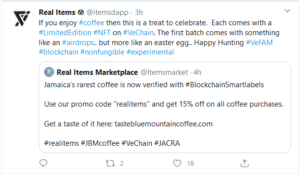 real item Vechain coffee